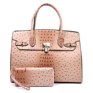 Handbags - WOW! Blush Pink Satchel with Wallet